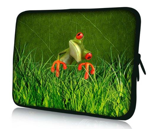 Luxburg® Design Laptoptasche Notebooktasche Sleeve für 17,3 Zoll, Motiv: Strümpfe Frosch im Gras