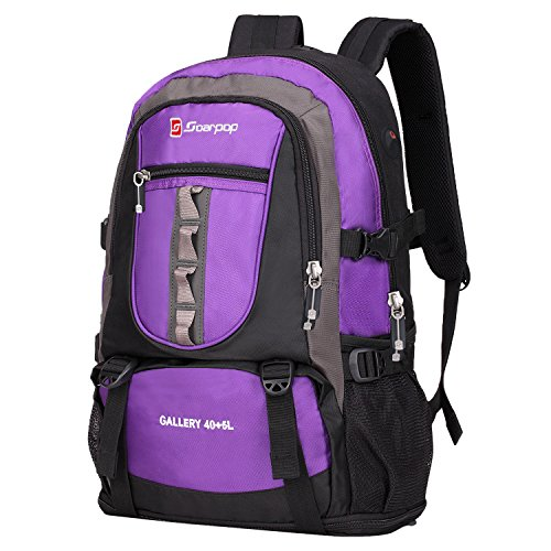 Soarpop Zaino resistente all'acqua, 40+5L Multifunzione, Escursionismo all'aperto, Arrampicata Purple