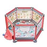 WYQ Baby-Laufstall, Sicherheitsgarderobe-Set (Laufgitter, Kissen, 100 Kunststoffkugel) Kids Activity Center -124 × 124 × 65cm Blau, Rot Laufgitter Ställe (Farbe : Red, größe : 124×124×65cm)