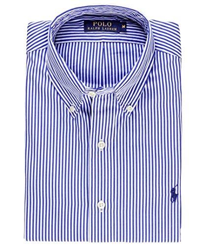 Ralph lauren- camicia da uomo, motivo a righe, colore: blu/bianco blu large