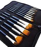 MozArt Supplies Aquarellpinsel & Acrylpinsel Set mit 15 Synthetik Pinseln & Pinselhalter Tasche – Künstlerbedarf Malpinsel Set für Acrylfarbe & Aquarellfarbe in hochwertiger Premium Qualität
