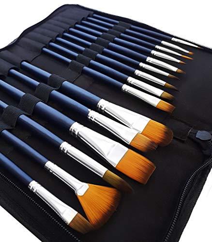 (MozArt Supplies Aquarellpinsel & Acrylpinsel Set mit 15 Synthetik Pinseln & Pinselhalter Tasche – Künstlerbedarf Malpinsel Set für Acrylfarbe & Aquarellfarbe in hochwertiger Premium Qualität)