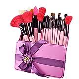 32 PCS rosa Make-up Pinsel Set rote natürliche Ziege Haar Make-up Pinsel in Geschenk-Box Verpackung ihre beste Geburtstagsgeschenk J32GR-P