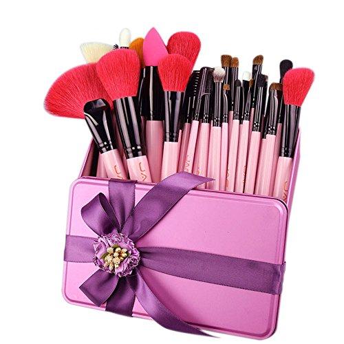 32 PCS rosa Make-up Pinsel Set rote natürliche Ziege Haar Make-up Pinsel in Geschenk-Box Verpackung ihre beste Geburtstagsgeschenk ()