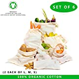Sacchetto di prodotti biologici riutilizzabili Muslin - Set di 6 (2 grandi, 2 medi, 2 piccoli) Tutti i sacchetti di cotone organico in cotone e lino naturale Prodotta GOT Approvata (2 ciascuno di Lg., Med. & Sm.) (8x10 ', 10x12', 15x12' ))