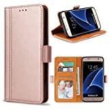 Bozon Galaxy S7 Hülle, Leder Tasche Handyhülle Flip Wallet Schutzhülle für Samsung Galaxy S7 mit Ständer und Kartenfächer/Magnetverschluss (Rose Gold)