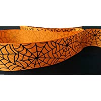MHA UK BRANDED 38mm Spooky orange web print grosgrain ribbon, 2 metre length