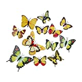 La vogue Gelb 12er 3D Schmetterling Wandsticker Aufkleber Fenstersticker Wanddeko Wanddekoration