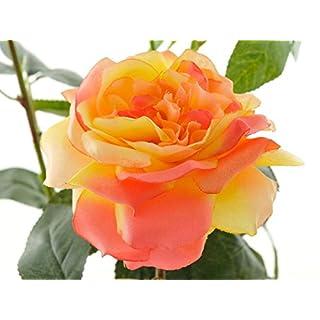 Aniba Design Kunstrose mit 2 Blüten und 1 Knospe orange ABROS013