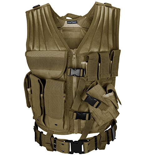 USMC Einsatzweste mit Koppel Tactical Vest Paintball Airsoft Softair Weste BlackSnake® - Coyote