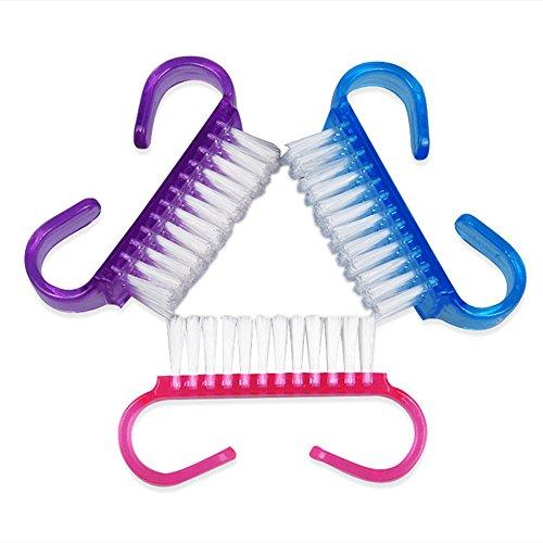TRIXES 3er Set Mini Reise Nagel Bürsten in verschiedenen Farben Kosmetik Reinigung Schönheit