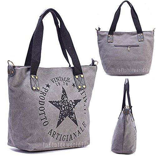 UKMOBI Stern Damen Handtasche Schulter Tasche Canvas Shopper Vintage Umhängetasche