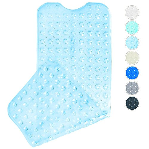 Badematte, Domowin Badewannenmatte mit 200 Saugnäpfen Badewanneneinlage Rutschfeste Duschmatte 100 x 40 cm (Transparent Blau)