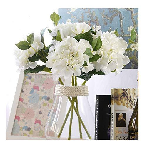 Famibay fiore artificiale 3 teste grandi seta ortensia hydrangea fiore finto per bomboniere decorazioni(bianca)