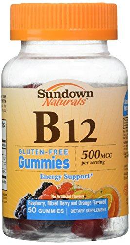 Sundown Naturals - Mcg di vitamina B12 glutine Gummies lampone,
