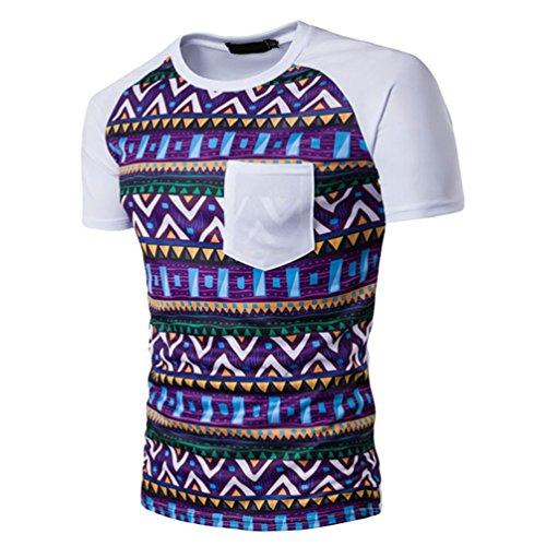 ZhiyuanAN Herren Kurzarm T-Shirt Bedruckte Schlanke Passform Gestreiftes Shirt Mit Brusttasche Casual Rundhals Tee Geometrie Graph Druck Weiß