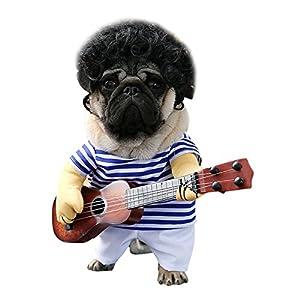 LAEMILIA Vêtements Halloween pour Animaux Domestiques Funny Singer Puppy Costume Chien Chat Déguisement Jouer une Guitare Noël Fancy Costume Coslay Party