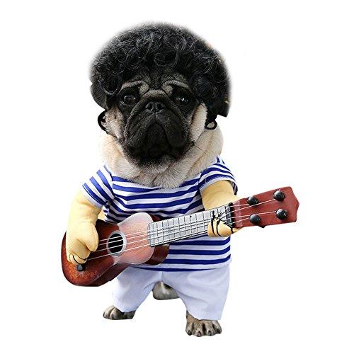Shining Dog Kostüm - Petalum Pet Kostüm Gitarrist Party Festival Verkleiden Funny Sänger Hundekleidung Cartoon Bekleidung Cute Cosplay Hund Katze Kleid (Sänger, XL)