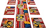 #3: Agasvi Cotton Place mats and Table runner Red Ikat Print with Hand Embriodered Kantha | 1 Table Runner Large Size : 86 x 16 Inches WITH 6 Table Placemats Size : 19 x 13 Inches (Red)