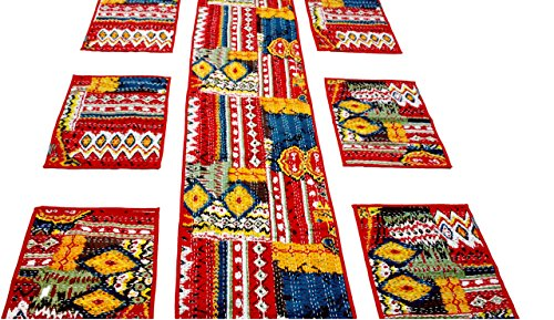 Agasvi Cotton Place Mats And Table Runner Red Ikat Print With Hand...