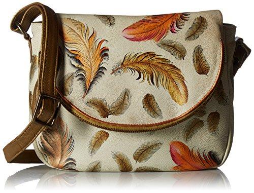 Anuschka handbemalte Ledertasche, Mode Schultertasche für Damen, Geschenk für Frauen, Handgefertigte Handtasche, Jahrgang Umhängetasche (Floating Feathers Ivory 547 FFT-I)+A5:B10