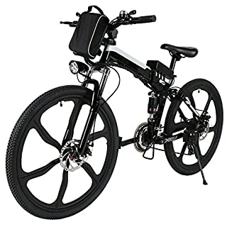 Tomasa 26\'\' 27 Speed Elektrofahrrad E-Bike Pedelec Power Mountainbike Faltbares Fahrrad mit Lithium-Ionen-Akku,250W Das-Kit Heckmotor, bis zu 45-55km (Schwarz)