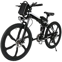 """Profun Vélo de Montagne électrique Pliant avec Roue Intégrée 26"""" Alliage de Magnésium 6 Rayons Super Léger Batterie Lithium-Ion de Grande Capacité (36V 250W) Shimano Gear"""