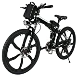 Tomasa 26\'\' 27 Speed Elektrofahrrad E-Bike Pedelec Power Mountainbike Faltbares Fahrrad mit Lithium-Ionen-Akku,250W Das-Kit Heckmotor, bis zu 45-55km (Schwarz)