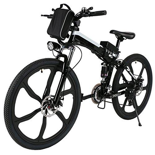 Elektrofahrrad Mountainbike, 26 Zoll Faltbar E-Bike mit 21-Gang Getriebe, 36V 8AH Lithium-Akku, 250W Hochgeschwindigkeits-Bürstenlose Heckmotor
