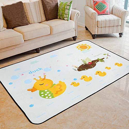 SUYUN Moderne Mode Pastell geometrischen Design inspiriert TeppichbodenmatteGlückliches Entlein 70 * 140cm der Karikaturkinderteppiche