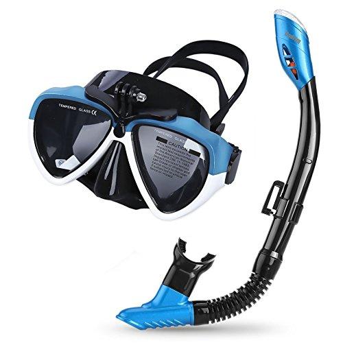 Cadrim Perfecto 180 ° Tauchmaske, Panorama-Schnorchel-Vollgesichtsmaske mit Einzelatmungskammer, geeignet für Erwachsene und Jugendliche, Anti-Fog- und Anti-Leak-Technologie (S / XL) (Blau & Schwarz, 170,4 x 110 mm)