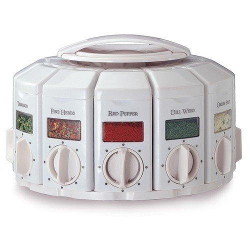 KitchenArt HERB/SPICE DISPENSER 12 Jar Auto Measure White Carousel Rack
