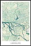 """JUNIQE® Bild mit Rahmen 40x60cm Stadtpläne Hamburg - Design """"Hamburg Vintage"""" (Format: Hoch) - Wandbilder, Gerahmte Bilder & Gerahmte Poster von unabhängigen Künstlern - Kunst & Bilder von Hamburg - entworfen von Hubert Roguski"""