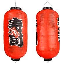 Lámpara colgante MyGift de estilo tradicional japonés roja/con decoración ...