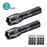 2 Stücke Taktische Taschenlampe, Cree-XML-T6 LED einstellbare Taschenlampe mit 5 Lichtmodi, skalierbar, IPX4 wasserdicht, hohes Lumen, mehrfunktional, 6 AAA Batterien inbegriffen