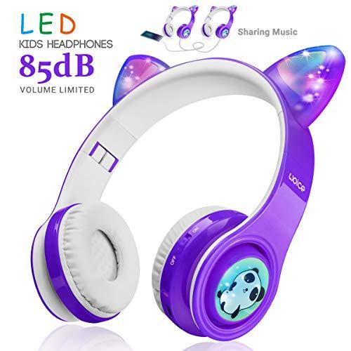 Kabellose Bluetooth Kopfhörer für Kinder Jugendliche ab 2 Mit LED Lichter Faltbarer Kindersicherheit Lautstärkebegrenzung Over Ear HiFi Stereo Kopfhörer mit Micphone für Mädchen Jungen (Lila)