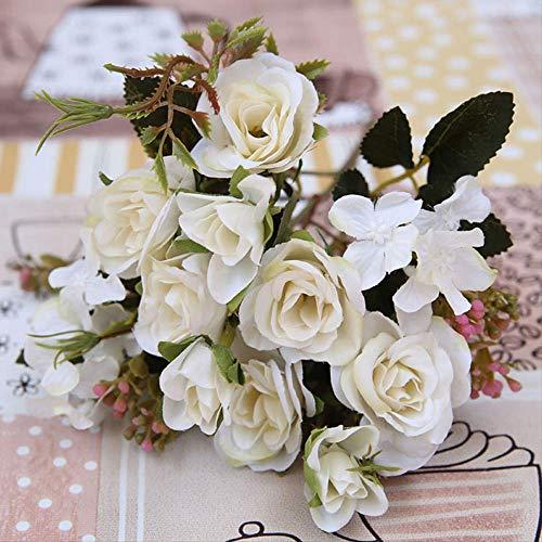 QYYDGH Retro Elegante schöne Weiß Rosa Bunte DIY Silk Rose Künstliche Blume Hochwertige Gefälschte Hortensien Blumen Für Hausgarten Hochzeit Tischdekoration weiß