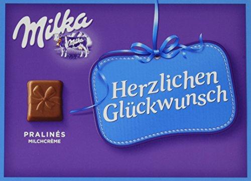 Preisvergleich Produktbild Milka Herzlichen Glückwunsch Milchcrème - Geschenkverpackung mit Pralinen aus Alpenmilch Schokolade - 5 x 110g