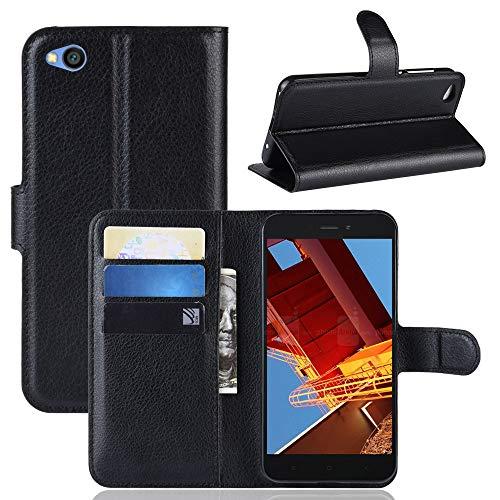MISKQ Funda para Xiaomi Redmi Go,Funda con diseño de Cartera,Estuche para el teléfono Anti caída,Estuche de Silicona(Negro)
