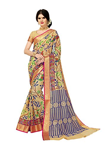 Indian Beauty Women's Art Cotton Jacquard Border With Blouse Saree