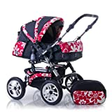 """Pram Daisy Edition incl. pushchair in design """"DAISY RED"""" - incl. carry basket, changing bag and rainfoil"""