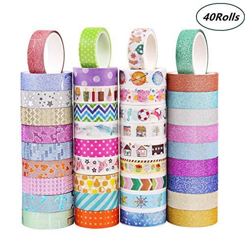 Candygirl Lot 40 Rouleau Washi Tape,Ruban Adhésif Papier Décoratif Washi Masking Tape pour Bricolage Scrapbook Artisanat Emballage Cadeau Fournitures de Bureau