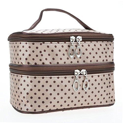 Yoliki Damen Handtasche Modische Kosmetiktasche Professionelle Reise Make Up Tasche Beige Doppelschicht Schminktasche Reißverschluß Umhängetaschen