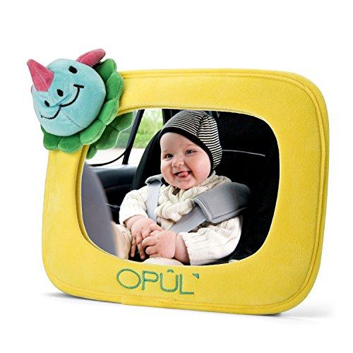 miroir de voiture pour b b r troviseur de voiture ajustable pour b b cadre jaune en peluche. Black Bedroom Furniture Sets. Home Design Ideas