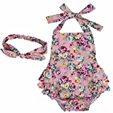 YiZYiF Baby Kleinkind Spielanzug Overall Bodies Anzug Mädchen Bekleidung Set mit Stirnband Rosa + Rose 6 Monate