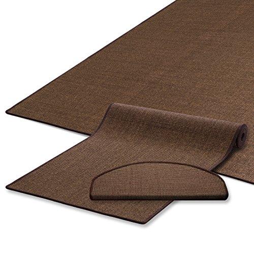 Naturfaser Sisal Stufenmatten | uni braun | Qualitätsprodukt aus Deutschland | kombinierbar mit Sisalläufer | 65x23,5 cm | halbrund | 15er Set