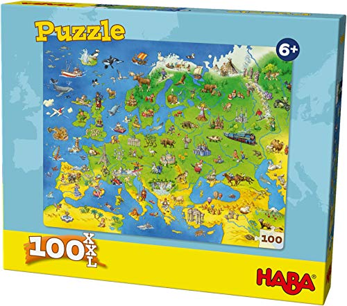 HABA 304220 - Puzzle Länder Europas, 100 Teile, Puzzle im XXL-Format mit Weltkarten-Motiv für Kinder ab 6 Jahren