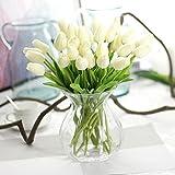 10 pezzi reale tocco PU lattice artificiale del tulipano Fiori per Wedding Bouquet di fiori finti e Decorazione per la Casa Garden Decor, simulazione reale di tocco del tulipano colorato per il regalo di compleanno di Natale San Valentino(Bianca)