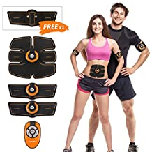 Hompo Elettrostimolatore Muscolare, Abdominal Muscle Toner, EMS Addominali per Uomo / Donna Con Una Cintura a Braccio Libero (Nero)