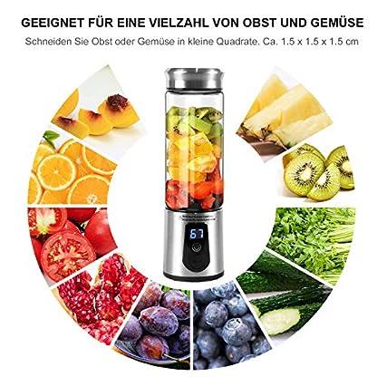 Mixer-450ML-Tragbar-Entsafter-Mini-Standmixer-Blender-Smoothie-Maker-Edelstahl-Juicer-USB-Wiederaufladbar-Ideal-fr-Smoothie-Saft-Milkshake-Reise-Haus-Sport